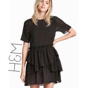 NWT H&M black eyelet tiered ruffle dress 12 L